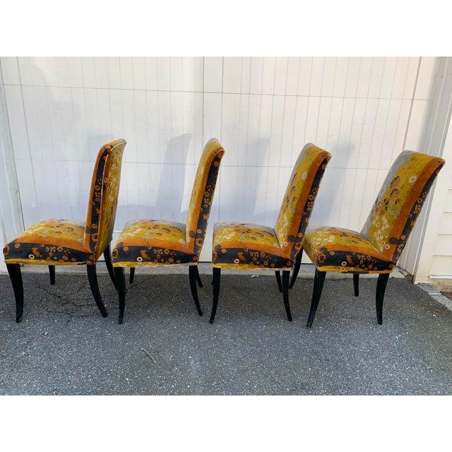 Jack Lenor Larsen Jack Lenor Larsen Velvet Dining Chairs - Set of 4 For Sale - Image 4 of 12