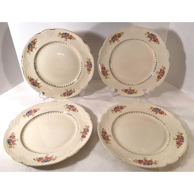Vintage Homer Laughlin Ivory Floral Dinner Plates - Set of 4 For Sale - Image 9 of 9