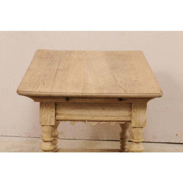 Tan 18th Century Swedish Period Baroque Wood Side Table on Turned Legs For Sale - Image 8 of 12