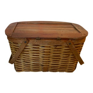 Vintage French Style Farmers Picnic Basket Wicker Rattan and Wood For Sale