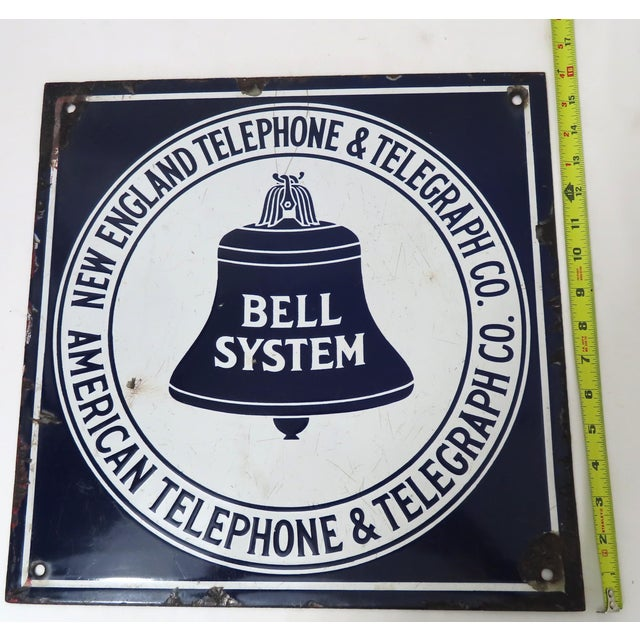 Antique Porcelain on Steel Bell Telephone Advertising Sign For Sale - Image 12 of 13