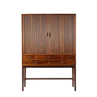 Ole Wanscher Rosewood Tambour Cabinet For Sale