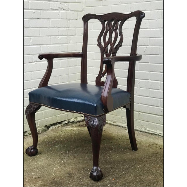 1990s Baker Furniture Chippendale Style Ball & Claw Arm Chairs - Set of 10 For Sale - Image 5 of 10