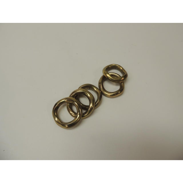1990s Set of 5 Solid Brass Ralph Lauren Ribbon Napkin Holders For Sale - Image 5 of 6