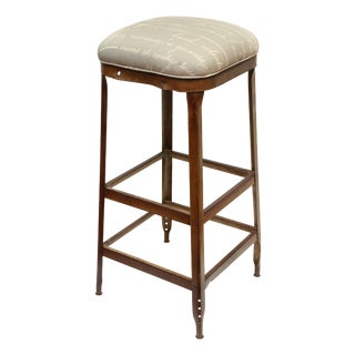 French Upholstered Industrial Stool For Sale