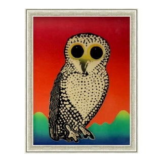 Custom Framed Champagne Metallic Wood Frame of Vintage Abstract Owl Pop Art Giclee For Sale
