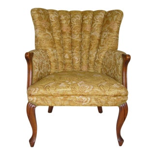 Vintage Gold Channel Back Accent Chair With Cabriole Legs