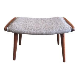 Danish Modern Gray Upholstered Teak Ottoman