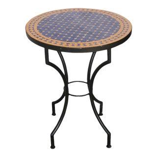 Moroccan Mosaic Tiles Cobalt Blue Color Bistro Table For Sale