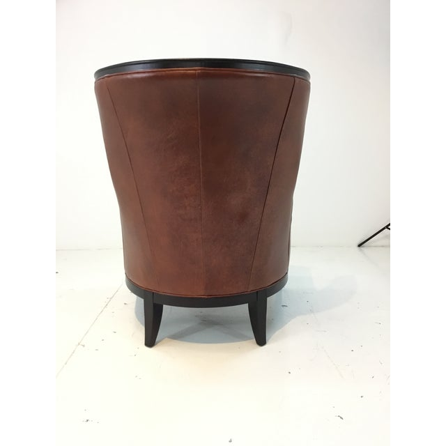 2010s Transitional Thomasville Burnt Sienna Leather Capricorn Club Chair For Sale - Image 5 of 6