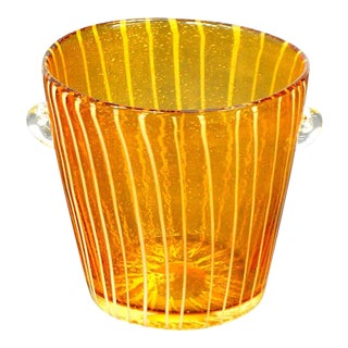 Murano Glass Controlled Bubbles Yellow and White Ice Bucket For Sale