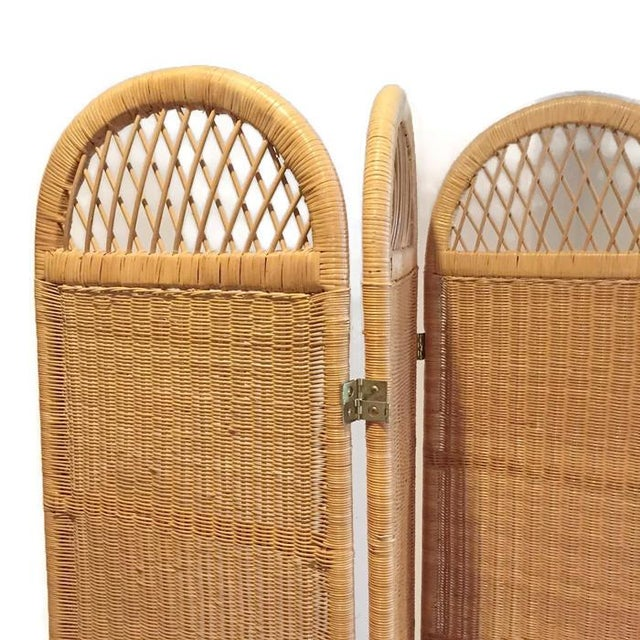 Vintage Wicker Rattan Folding Screen Room Divider - Image 4 of 7