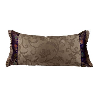 Custom Made Gray Silk Sofa Pillow With Accented Purple Sari Trim For Sale