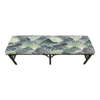 Faux Bamboo Blue & Green Bench