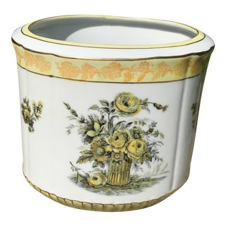Yellow and Gold Oval Cachepot