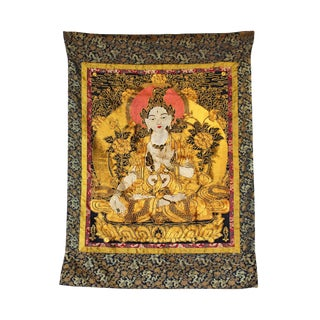 Hand Embroidery Golden Color Thread Tara Bodhisattva Thangka For Sale