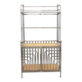 Art Deco Stainless and Brass Etagere For Sale