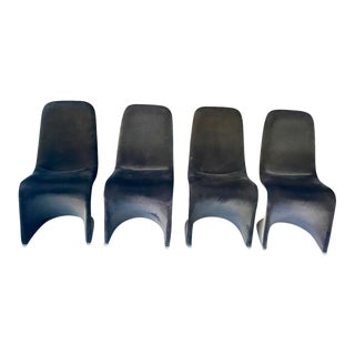 1970s Vintage Velvet Z Chairs - Set of 4 For Sale