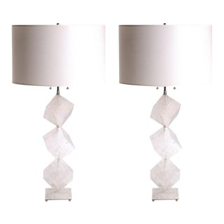 Rock Crystal Stacked Cube Lamps - a Pair For Sale
