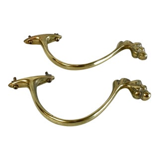 Vintage Brass Claw Foot Design Holdbacks - a Pair For Sale