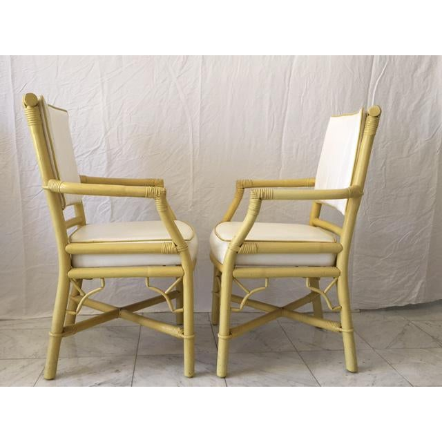 Vintage Daffodil Yellow Rattan Dining Chairs - Set of 6 - Image 4 of 11
