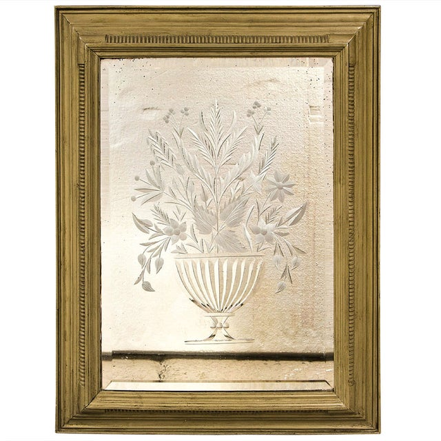 Decorative Framed Floral Etching Mirror For Sale In New York - Image 6 of 6