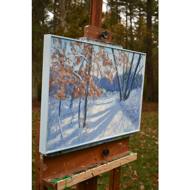 """""""Snowy Path by the Beech Tree"""" Contemporary Acrylic Painting by Stephen Remick, Framed For Sale In Providence - Image 6 of 11"""