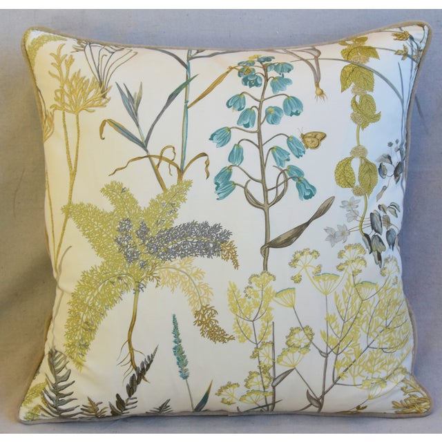 "Early 21st Century Botanical Wildflower Floral Feather/Down Pillows 23"" Square - Pair For Sale - Image 5 of 13"