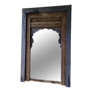 Antique Large Indian Carved Mirror For Sale