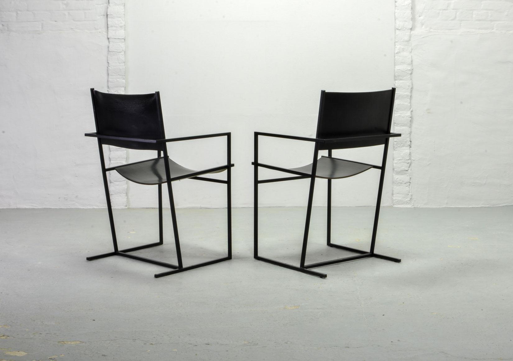 Distinguished Set Of Two Mid Century Dutch Design Black Leather And