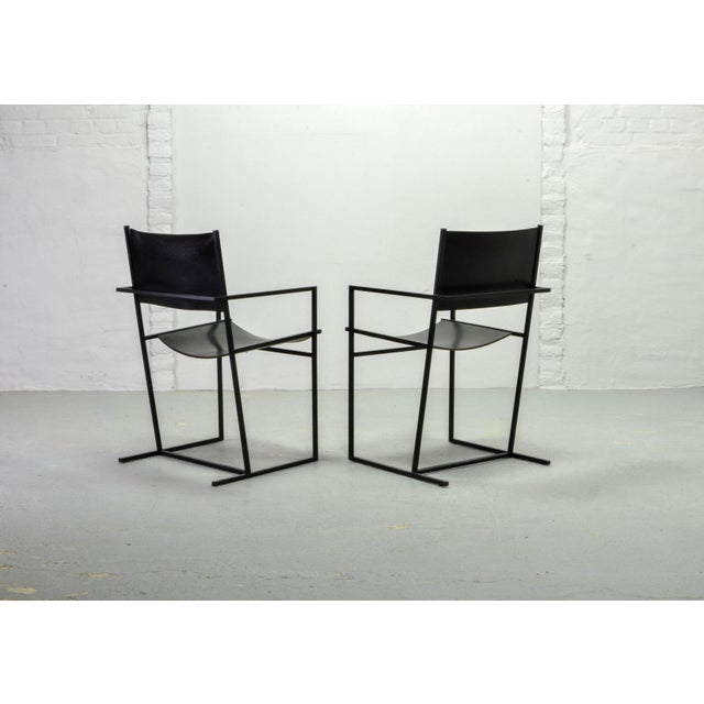 Set of Two Mid-Century Dutch Design Black Leather and Metal Dining Chairs Ag-6 by Albert Geertjes, the Netherlands, 1984 For Sale - Image 4 of 11