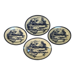 Blue and White English Chinoiserie Platters - Set of 4 For Sale