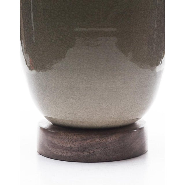 2010s Lawrence & Scott Lagom Porcelain Lamp in Oyster Gray Crackle With Walnut Base For Sale - Image 5 of 6