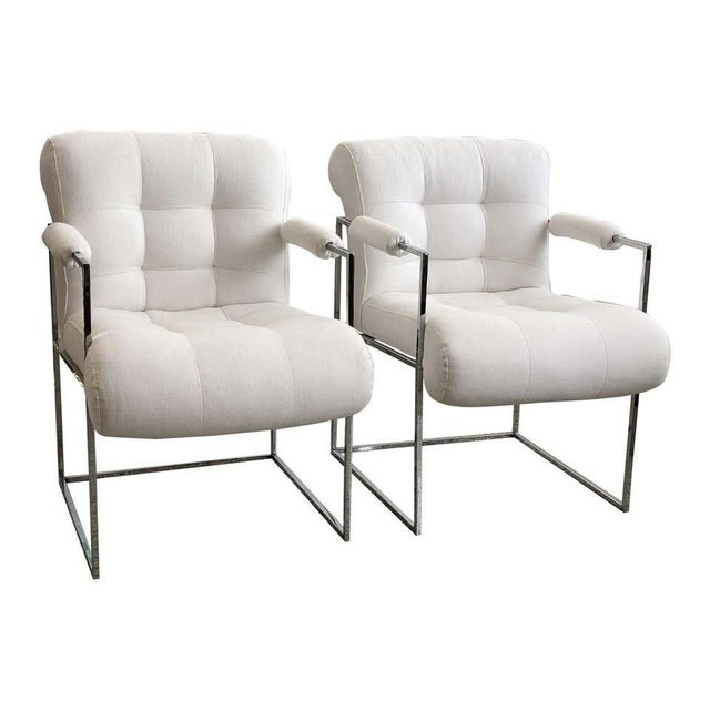 Milo Baughman Thin Line Chairs in Polished Chrome - a Pair For Sale - Image 13 of 13