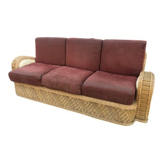 1980s Vintage Jay Spectre for Century Furniture Rattan Sofa For Sale