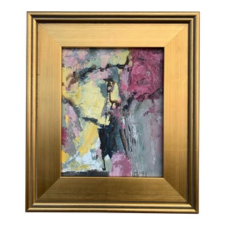 """2000s """"Profile of David"""" Modernist Abstract Oil Painting on Masonite, Framed For Sale"""