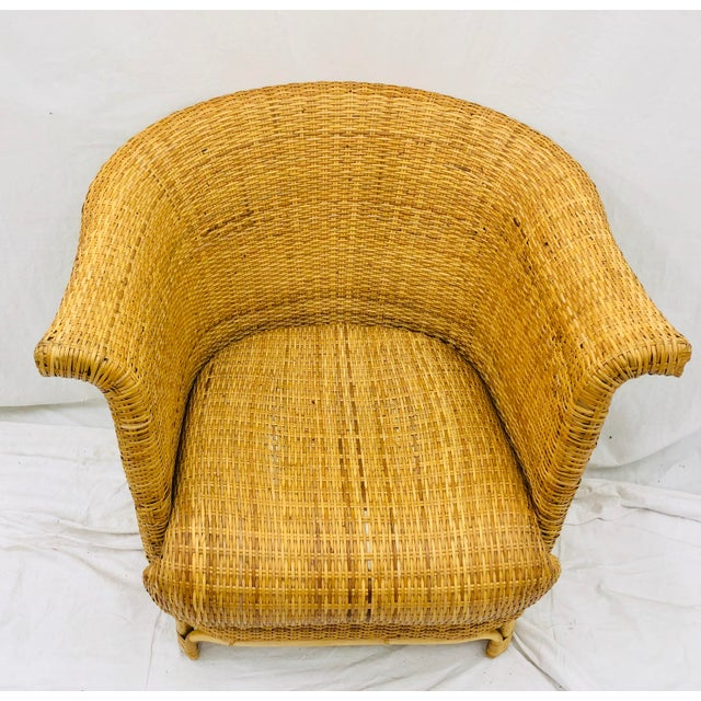 Brown Vintage Palm Beach Chic Woven Wicker Arm Chair For Sale - Image 8 of 13