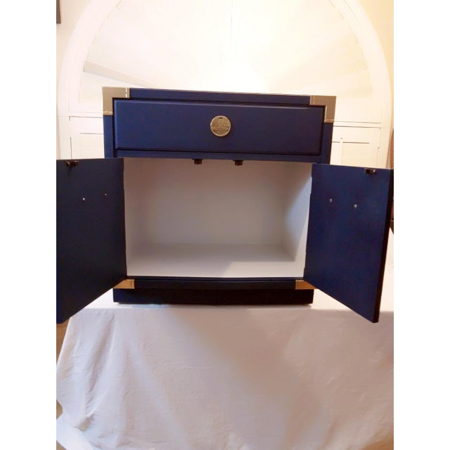1980s Thomasville Blue Campaign Nightstand For Sale - Image 5 of 9