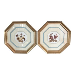 1990s Framed Pressed Flowers - A Pair For Sale