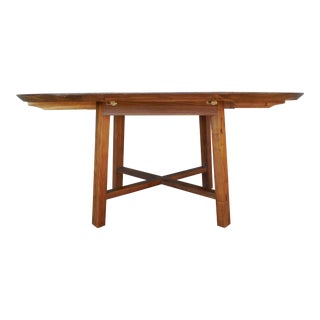 "Crate & Barrel Arts & Crafts Style Teak Dining Extension Table 66""W For Sale"