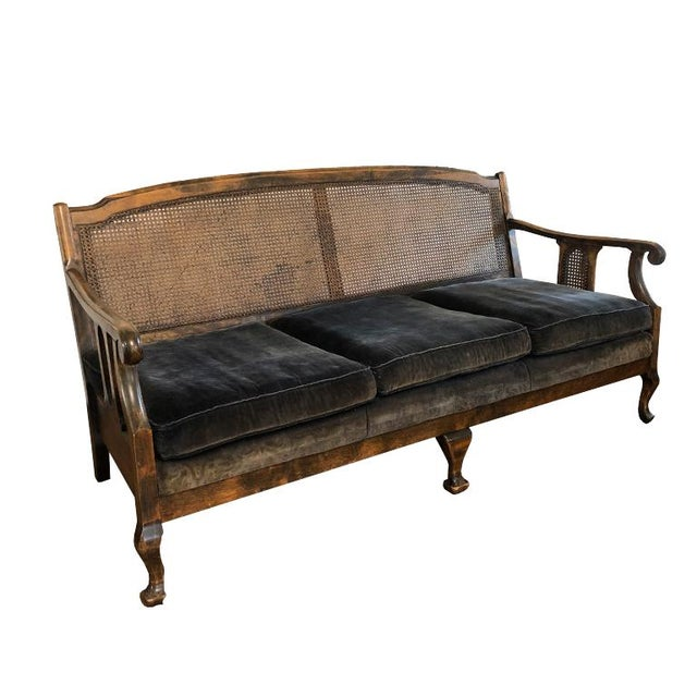 Chippendale settee, daybed or sofa. Queen Ann back covered with a cane backing, in excellent condition. Reinforced with a...