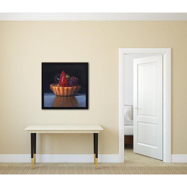 """Canvas """"Strawberry Tartle"""" Framed Original Photorealistic Oil Painting by Stuart Dunkel For Sale - Image 7 of 10"""