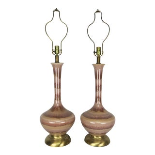 Mid-Century Modern Ceramic With Brass Base Lamps - a Pair For Sale