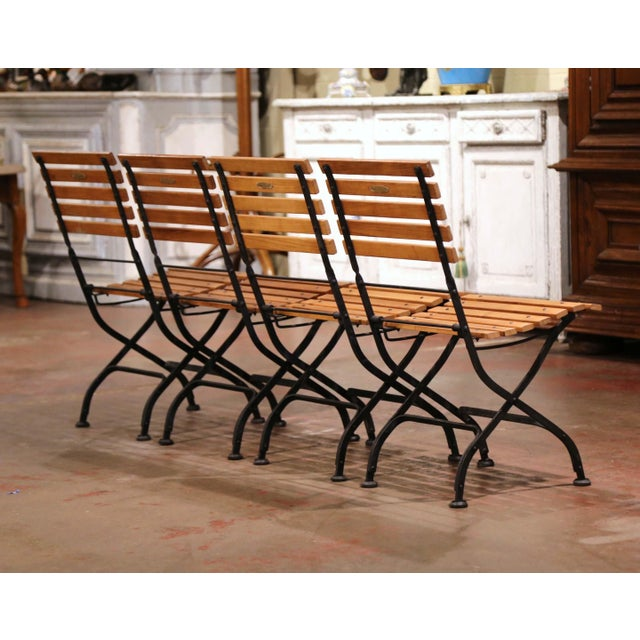 Painted Wrought Iron and Teak Wood Folding Garden Chairs, Set of Four For Sale - Image 11 of 13