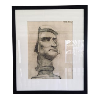 Early 20th Century Bust Study Charcoal Drawing on Paper For Sale