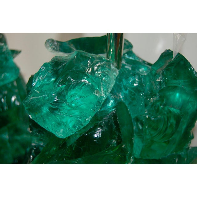 Glass Rock Table Lamps by Swank Lighting Jade Green For Sale In Little Rock - Image 6 of 9