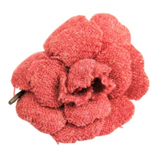 Iconic Vintage Chanel Tweed Camellia Flower Brooch For Sale