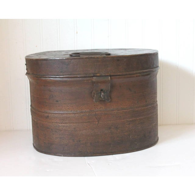 19th Century Original Brown Painted and Distressed Hat Box - Image 4 of 8