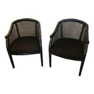Mid-Century, Faux Bamboo Carved Wood Armchairs, W/ Caning, a Pair For Sale