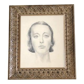 Original Vintage Art Deco Charcoal Female Portrait Drawing Ornate Vintage Frame For Sale